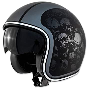 ZOX ruta 80 calaveras Open Face casco de moto, color negro mate 2 x l