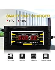 KKmoon Caricabatteria Mantenitore 12V 10A Multi Protezioni Caricatore, Caricabatteria da auto con Schermo LCD, Avviatore Carica Batteria Smart Caricatore e Mantenitore di Carica