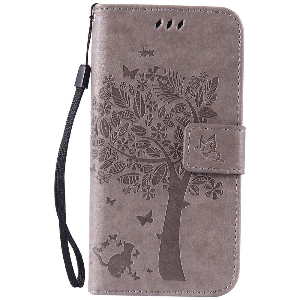 Nancen Tasche Hülle für Samsung Galaxy S6 Edge / G9250 (5,1 Zoll) Flip Schutzhülle Zubehör Lederhülle mit Silikon Back Cover PU Leder Handytasche im Bookstyle Stand Funktion Kartenfächer Magnet Etui Schale