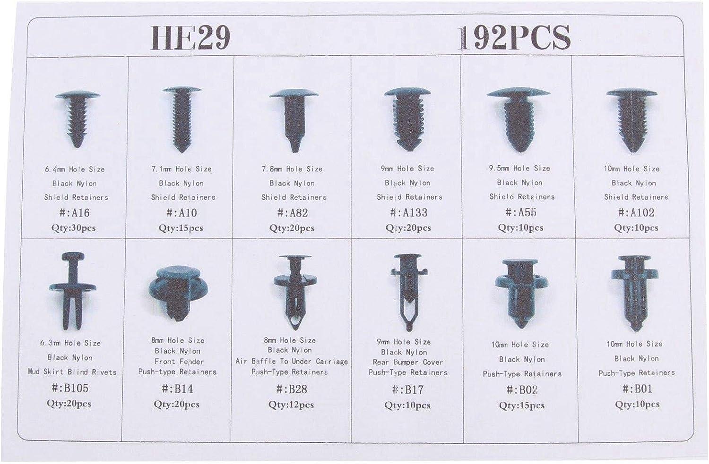 19 Unidades 12 mm Remaches de pl/ástico para Guardabarros de Coche Color Negro X AUTOHAUX