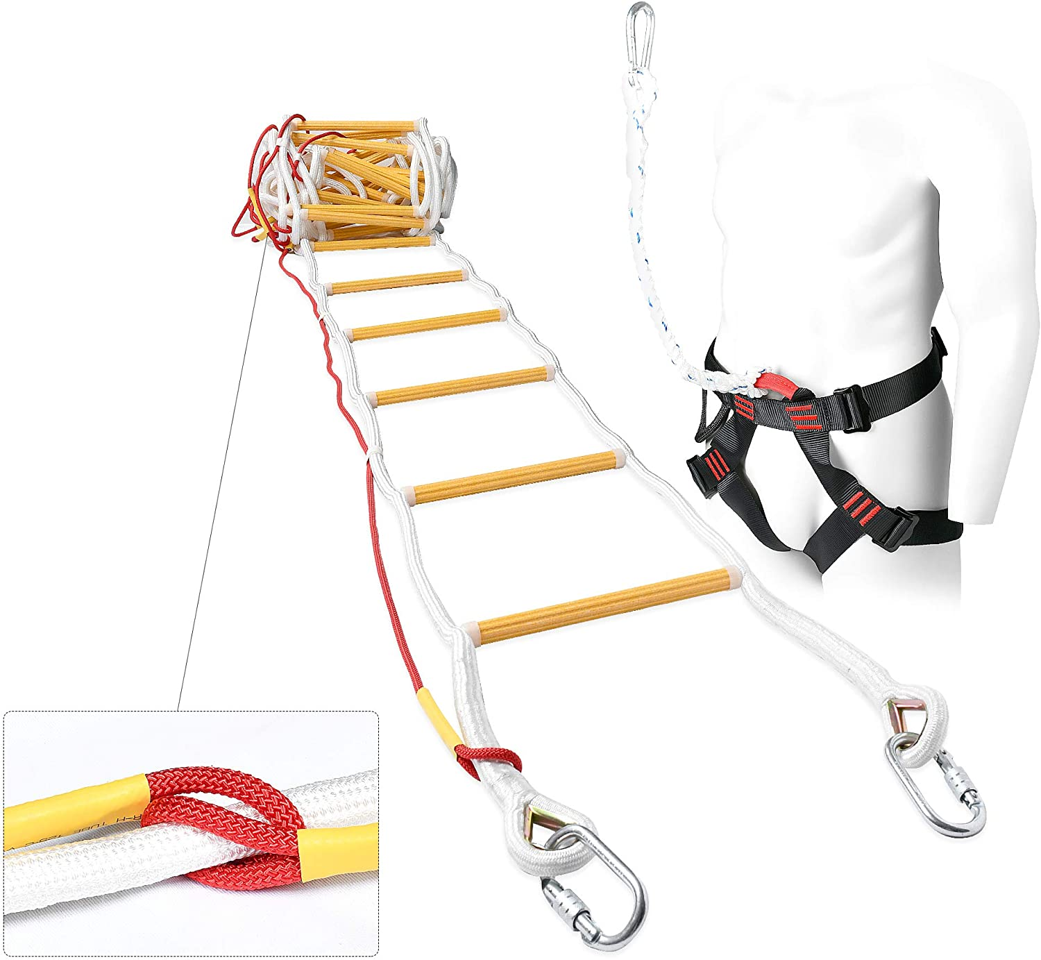Fire Escape Rope Ladder for Balcony 3 Story - Safety Ladders with Carabiners & Harness Belt 10m (32ft)