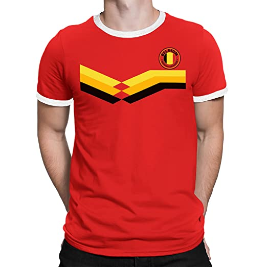 Amazon.com  Belgium Mens T-Shirt World Cup 2018 Football Retro  Clothing 2a5597404
