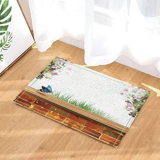 """15X23/"""" Kitchen Bath Doormat Non-Slip Mat Rug Bathmats Carpet Flower Butterfly"""