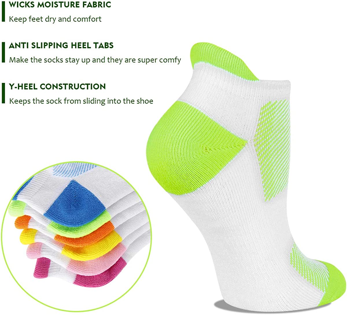 Heatuff Womens Low Cut Ankle Athletic Socks Cushioned Running Performance Breathable Tab Sock 6 Pack: Clothing