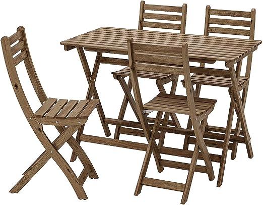 Opulence Trading - Juego de Muebles Plegables para jardín (1 Mesa + 4 sillas): Amazon.es: Jardín