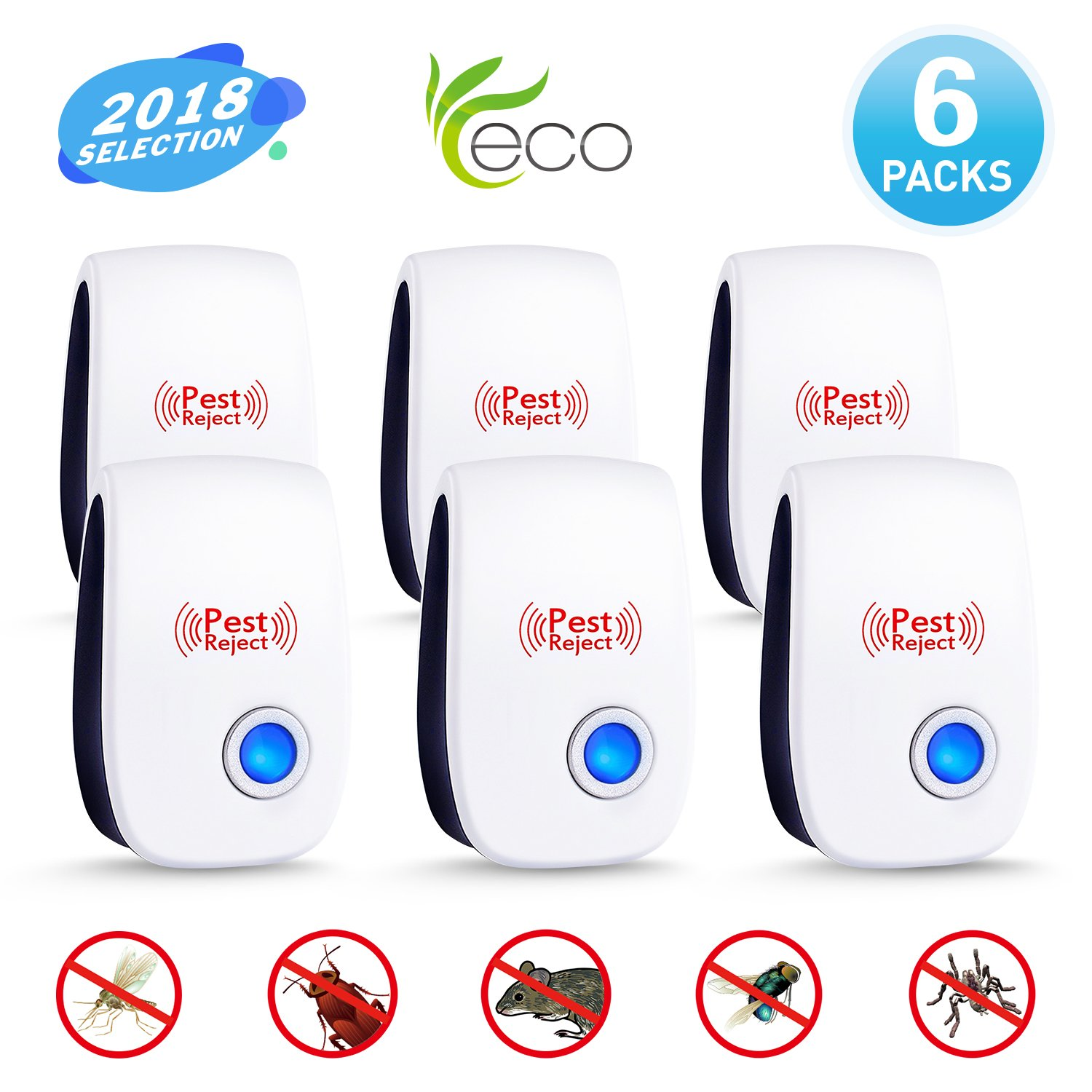 Ultrasonic Pest Repeller 2018 Upgraded Pest Control Humane &Pet Safe, Electronic Mouse Repellent Plug in Indoor Bug Repellent for Mice,Mosquito,Roach,Ant,Fly,Spider, Rodent-No Trap,Sprayer&Baits