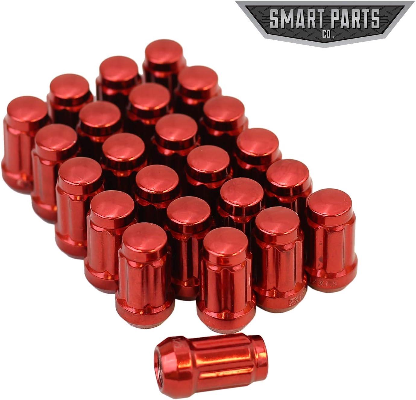 Smart Parts 24 12x1.5 Neo Chrome Closed End Acorn Spline Lug Nuts Cone Seat W//Key 1.4 Long