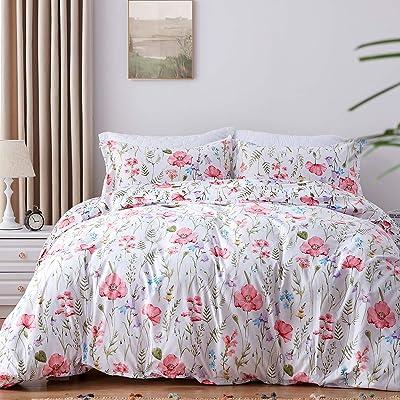 Fashionable Floral 300 TC 100/% Cotton Blossom Reversible Duvet Cover Sets