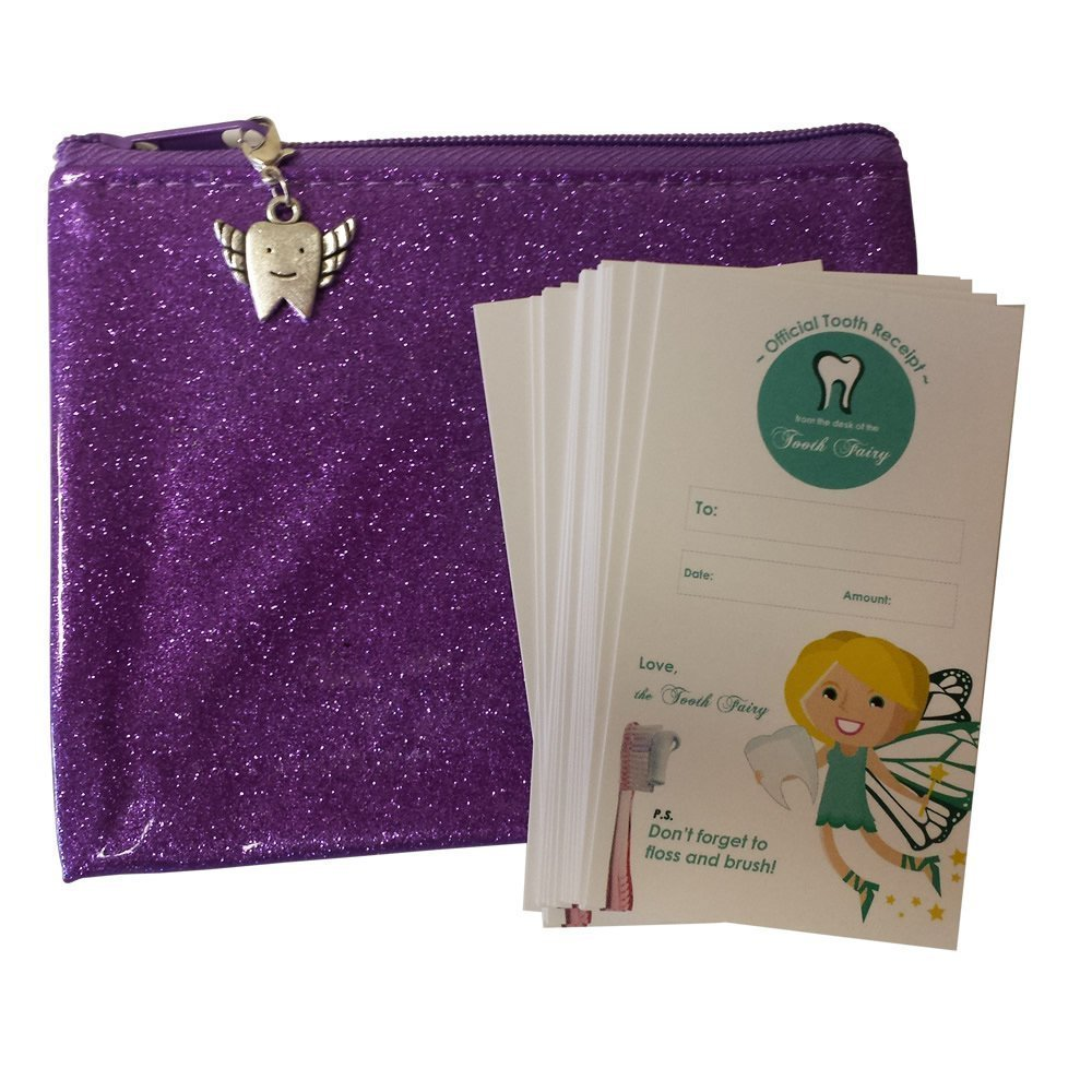 Complete Tooth Fairy Kit - 20 qty Tooth Fairy Receipts and Tooth Pouch