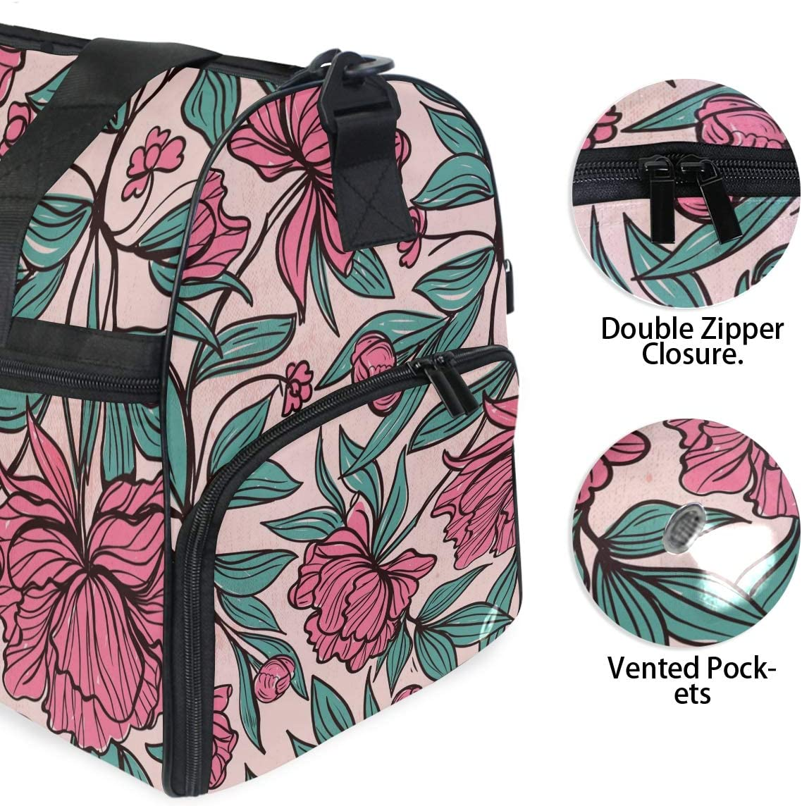 Vintage Peony Flower Sports Gym Bag with Shoes Compartment Travel Duffel Bag for Men Women