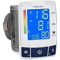 MeasuPro Automatisches, digitales Handgelenk-Blutdruckmessgerät mit Herzfrequenzerkennung, zwei Benutzermodi, Speicherfunktion und großem, hintergrundbeleuchtetem LCD-Display, CE genehmigt