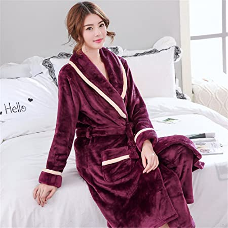 6efb6f270f89 ZHANGYONG A couple of winter Coral Fleece Pajamas men flannel bathrobe  Nightgown female male clothing Home