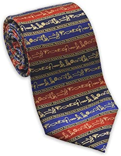 product image for Josh Bach Men's Hieroglyphics Silk Necktie Multi-colored, Made in USA