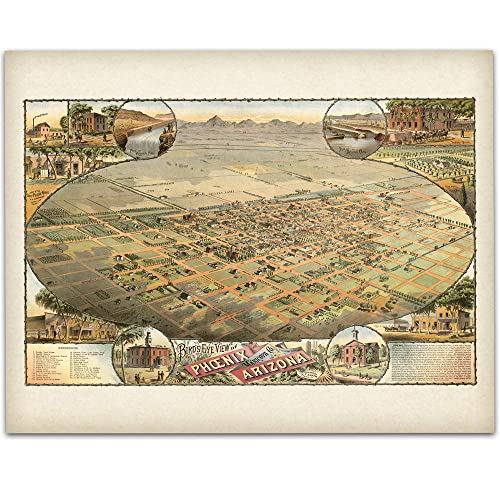 Map Of Just Arizona.1885 Phoenix Arizona Map 11x14 Unframed Art Print Great Vintage Home Decor Also Makes A Great Gift Under 15