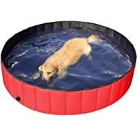 Yaheetech Foldable Pet Dogs Swimming Pool Puppy Bathing Tub Red Children Kid Paddling Pool Ball Water Ponds (Dia 160cm)