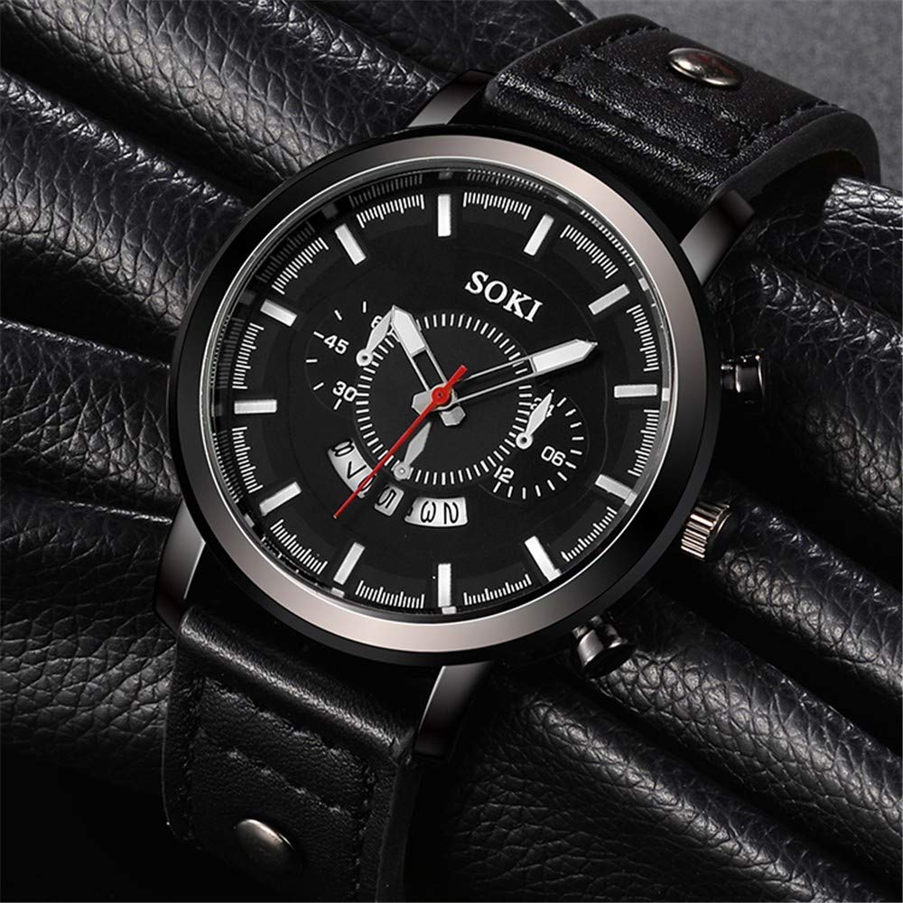 Amazon.com: WoCoo Mens Watch Leather Military Casual Analog Quartz Date Wrist Watch Business Watches(C): Kitchen & Dining