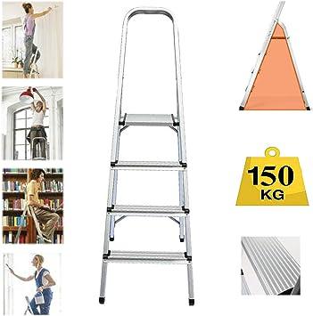 Escalera plegable de 4 peldaños, de aluminio resistente, compacta, portátil, con marco de seguridad antideslizante, ideal para el hogar/cocina/garaje, carga máxima de 150 kg: Amazon.es: Bricolaje y herramientas