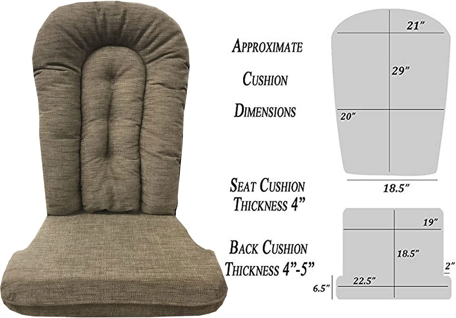 Replacement Cushion Set Glider Rocker, Beige, Tan, Brown Chenille Body Cloth