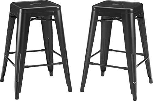 Crosley Furniture CF500824-MB Amelia 24″ Metal Counter Height Bar Stool