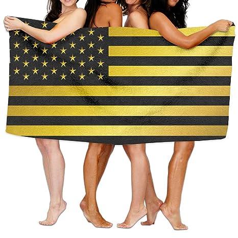 Toallas de playa extra grandes para mujeres, adolescentes, niños, dorado y negro, bandera de Estados Unidos, ...