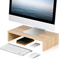 FITUEYES Monitor Stand Beige Laptop/PC/Printe/TV Riser Desk Space Save for Desktop Organizer 42.5x23.5 cm DT104201WO
