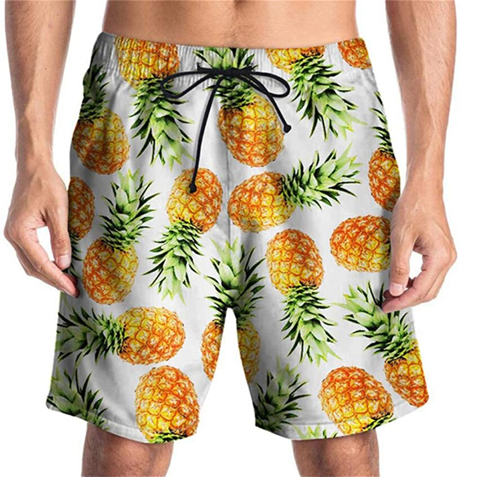 Creative Pineapple Printed Beach Pants Street Casual Large Size Pants for Men