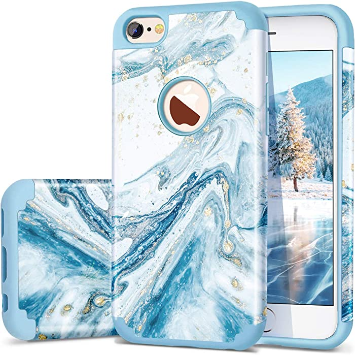 Fingic iPhone 6S Case, iPhone 6 Case, Marble Blue Bling Glitter Design Hybrid Flexible Soft Rubber Hard PC Bumper Shockproof Full Body Protective Phone Case Cover for iPhone 6S / iPhone 6 - Blue