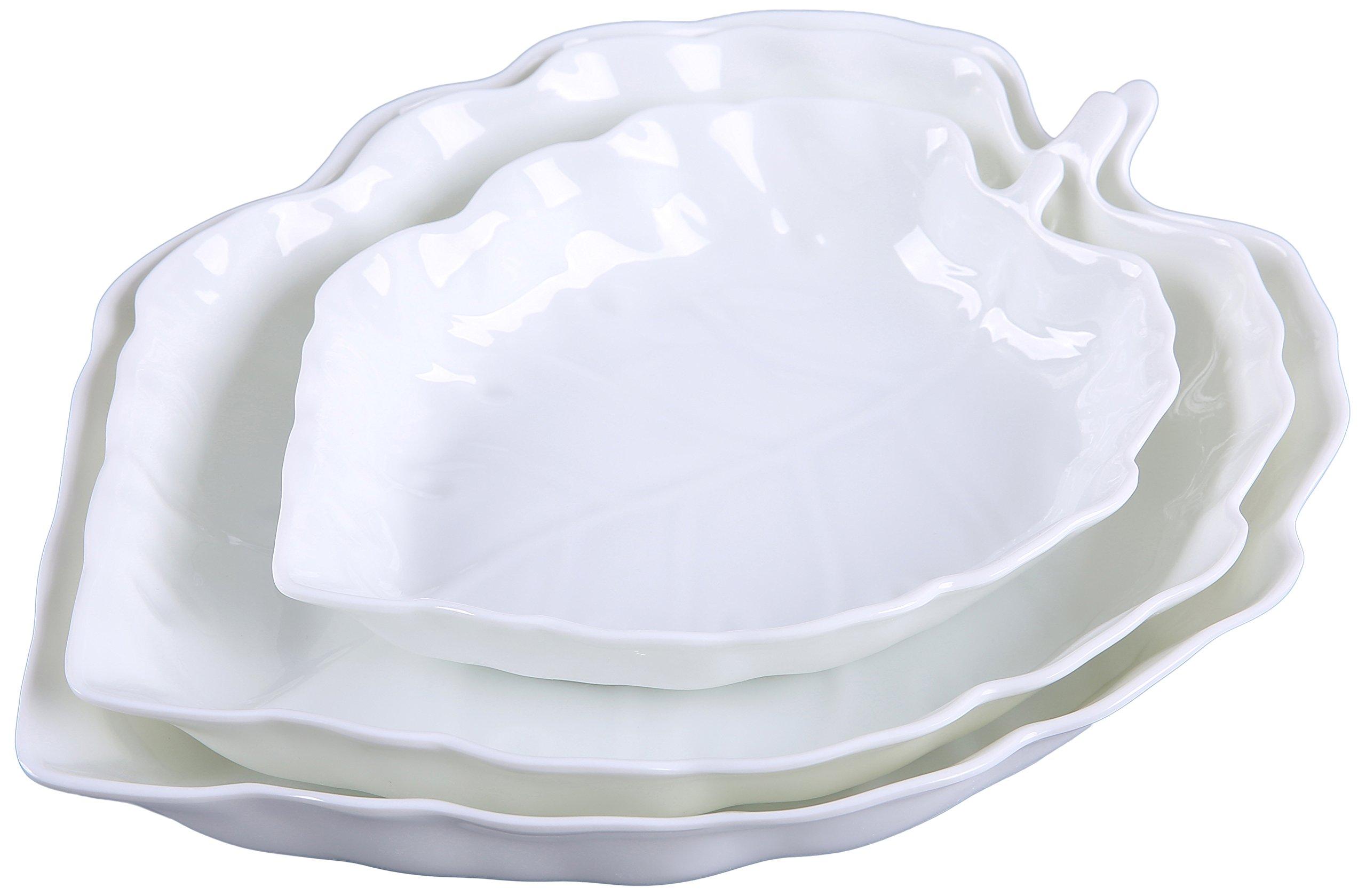 SHALL Housewares 8116 3 Piece Melamine Leaf Serving Tray 3, White
