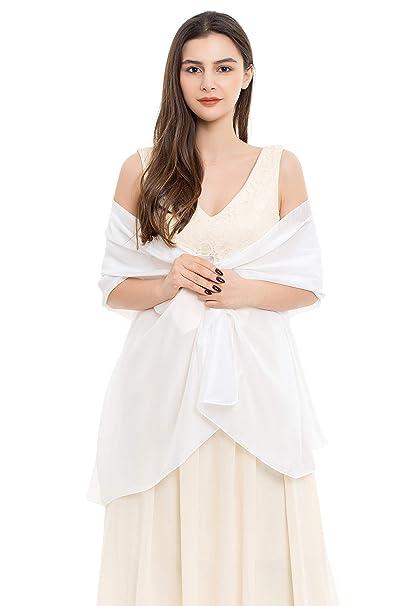 4c498ad92c0 REEMONDE Womens Luxurious Soft Satin Chiffon Bridal Scarf Shawl Wraps  Pashmina for Evening Party (White Satin)