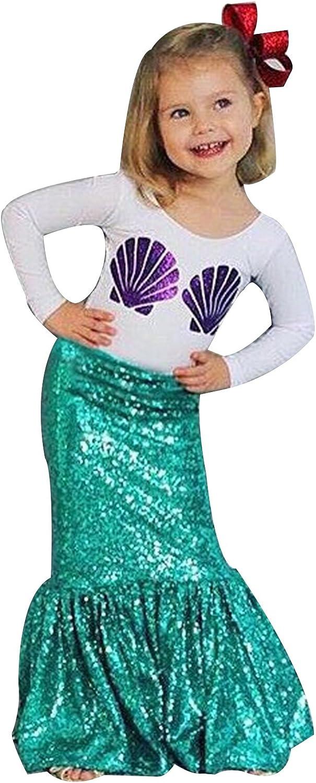 Bebé niñas lentejuelas Tails de la Sirenita disfraz camiseta de ...