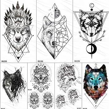 Tatuajes Temporales Niños Piratas India Wolf Totem Geométrico ...