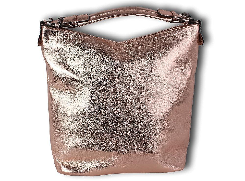 K&Company Damen Holo Taschen Silber Rosegold Glanz Glitzer Sparkle Metallic Glänzend Abendtasche Handtasche Schultertasche Umhängetasche Shopper