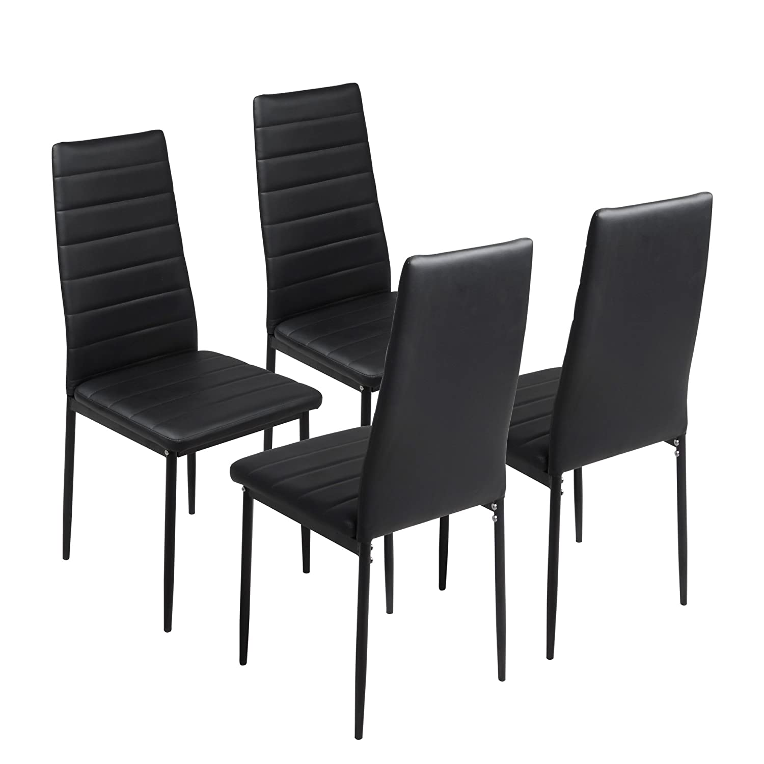 FAYEAN Dining Kitchen Chair High Back Foam Padded Seat with Steel Frame Heavy Duty for Home Kitchen Room Furniture,Set of 4(Black)