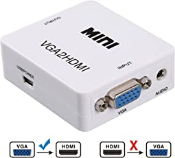 TFHEEY VGA + Audio a HDMI Adaptador (TV/proyector/Monitor/Pantalla) – Convertidor Full HD 1080p – 3.5 mm (Blanco)