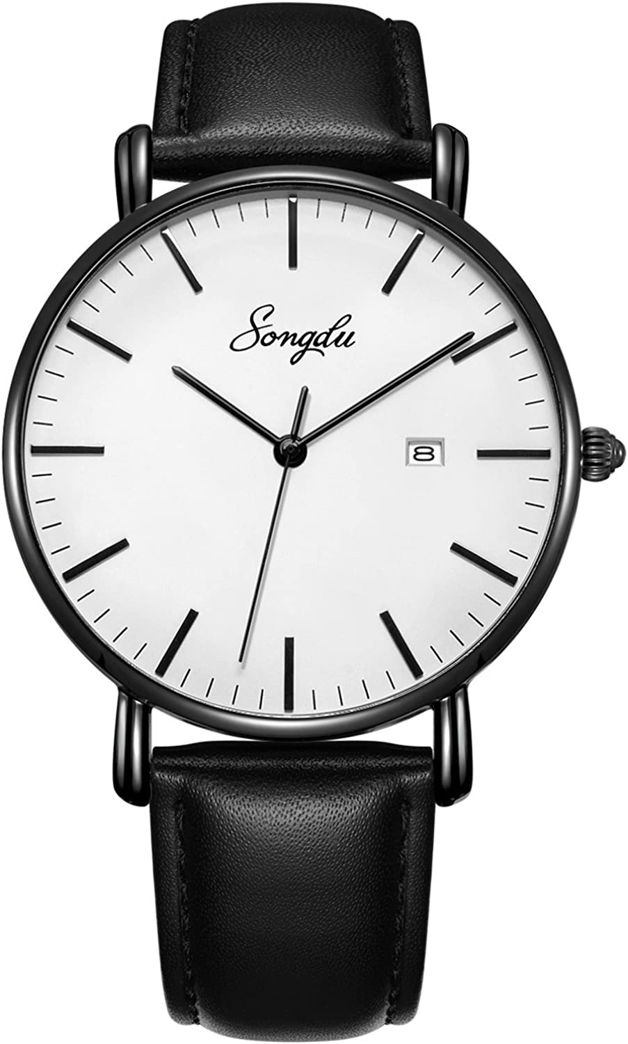 Men s Black Ultra-Thin Analog Quartz Watch Date with Leather Strap Stainless Steel Band