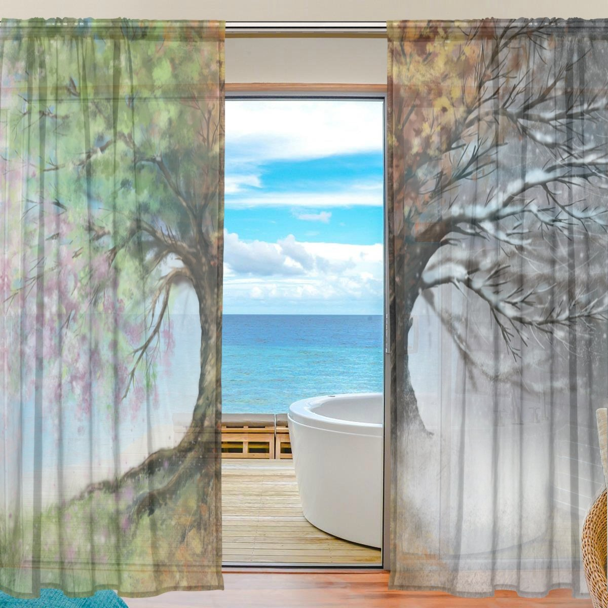 SEULIFE Window Sheer Curtain Tree of Life Voile Curtain Drapes for Door Kitchen Living Room Bedroom 55x78 inches 2 Panels