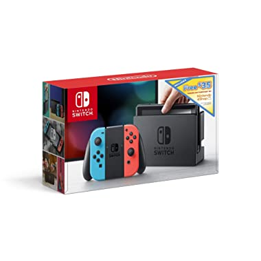 Nintendo Switch w/ Neon Blue & Neon Red Joy Con + $35 Nintendo eShop Credit Download Code - Nintendo Switch