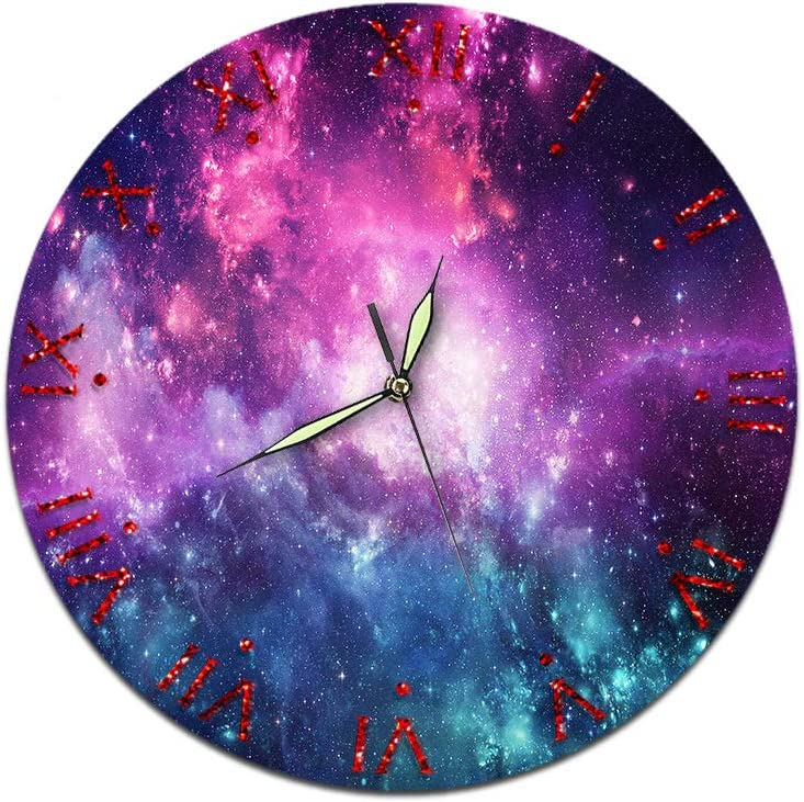 KeeYi Silent Wall Clock, Round Easy to Read for Home Office School Decor Clock Round Classic Clock Retro Decorative Wall Clock 28CM