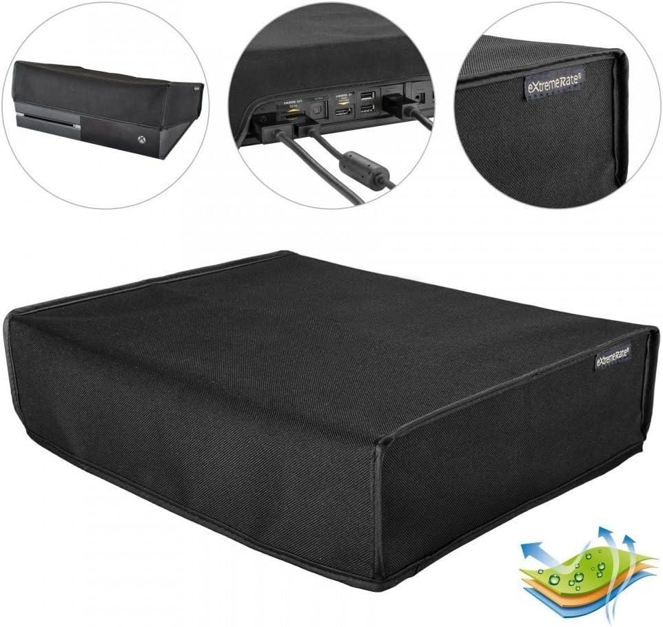 eXtremeRate Funda contra el Polvo Cubierta Protectora Horizontal para la Consola de Xbox One Original Diseño de Doble Capa Forro Impermeable Corte preciso para Puerto de Cable de fácil Acceso Negro