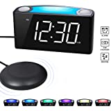 ROCAM Loud Vibrating Alarm Clock with Bed Shaker, Best Sounds, Large LED Display with Dimmer, 7 Colored Night Light, Dual USB Charging Ports for Heavy Sleepers, Hearing Impaired, Deaf People, Seniors