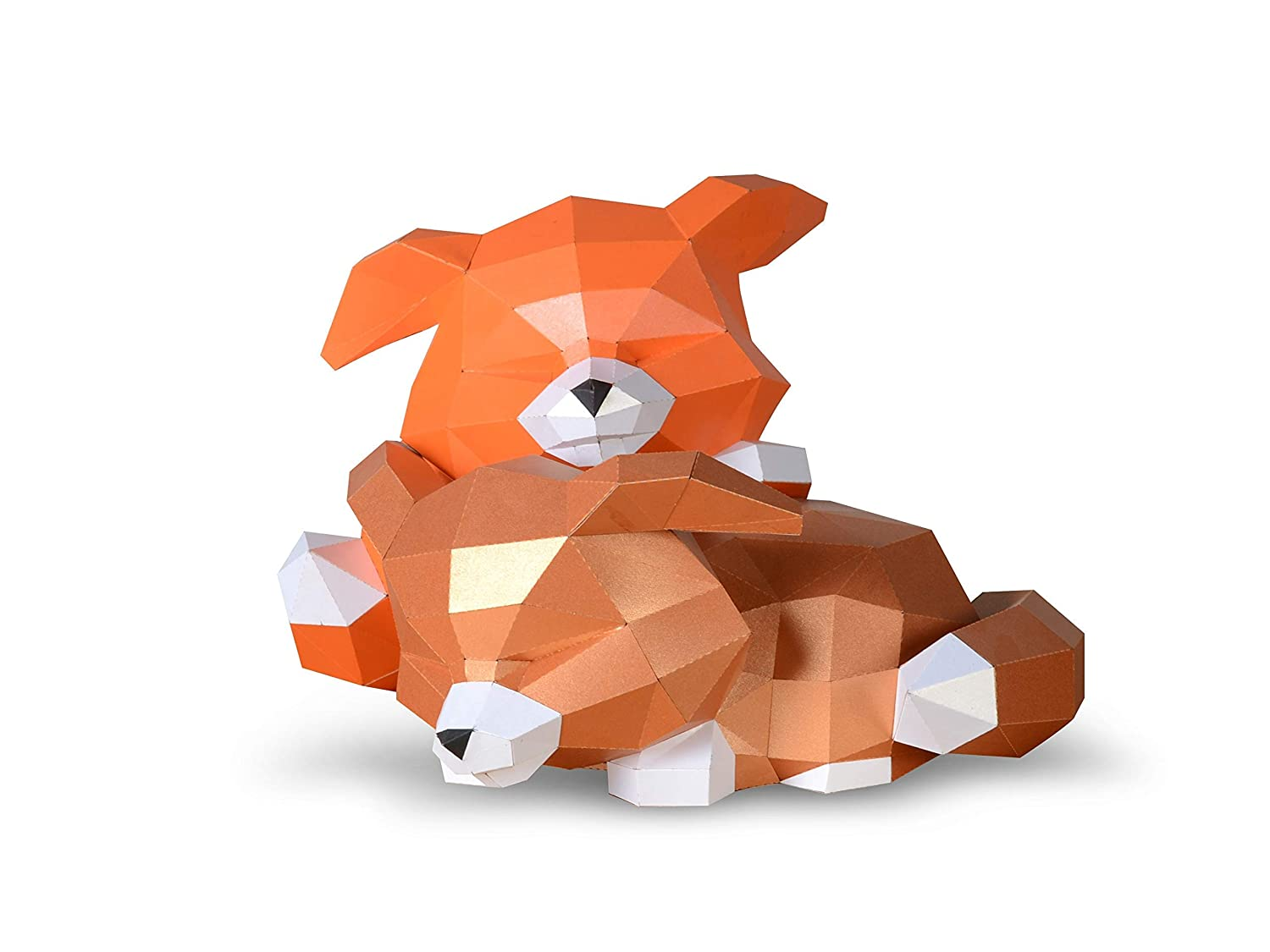 Sleep Little Fox DIY Paper Craft Kit,Pre Cut 3D Papercraft for decoration Creattive 3D Low Poly Puzzle for Kid,Multi Color Options,Accessories Included with Quality Paperstock ,100/% Recycled