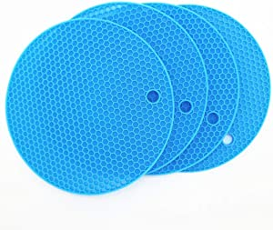 Smithcraft Silicone Trivets Mat for Dish Hot Pads for Counter Top,Pan and Pot Heat Resistant Hot Protector Workshop,Coffee Mat or Placemats 4 Pack,Size:7x7 Inch, Color: Blue,Shape:Round