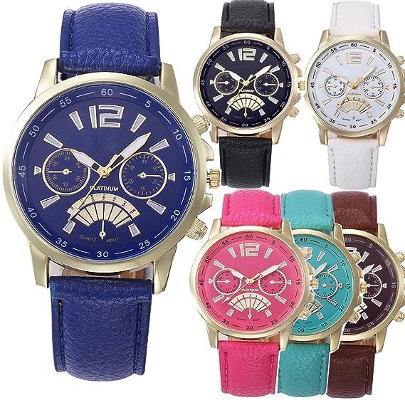 yunanwa al por mayor 6 unidades, Platinum reloj mujeres hombres unisex piel banda verano vestido reloj de pulsera: Amazon.es: Relojes
