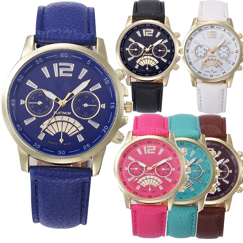 Yunanwa Wholesale 6 Pack Assorted Platinum Watch Women Men Unisex Leather Band Summer Dress Wristwatch