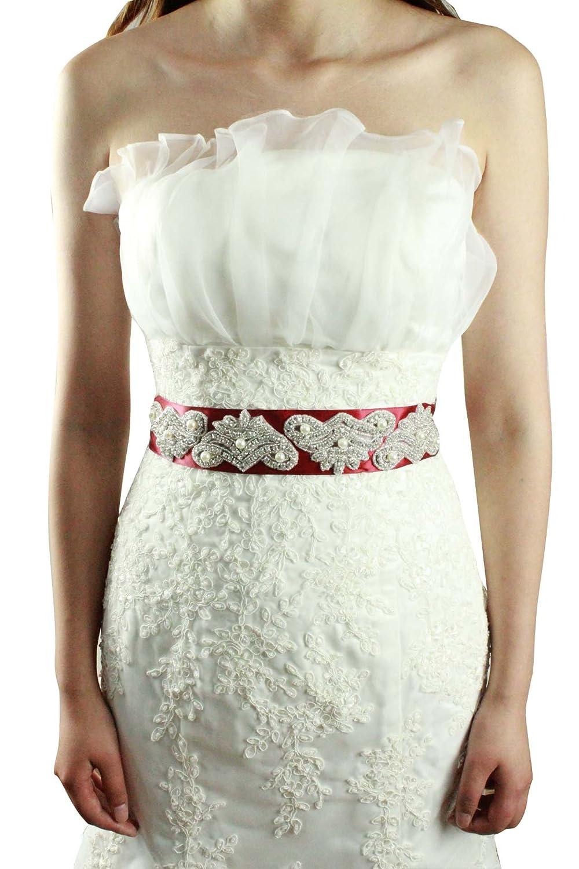 Leamandy Pearls Crystals Princess Wedding Sashes Bridal Belts A18 in 5 Colors