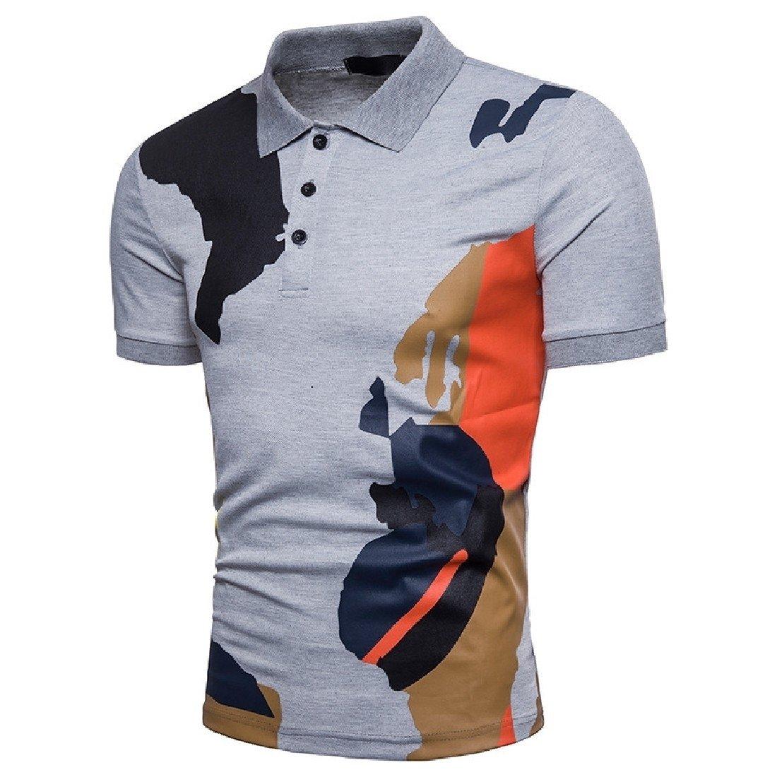 XINHE Men Casual Turndown Collar Short Sleeve Loose Hit Color Polo Shirt