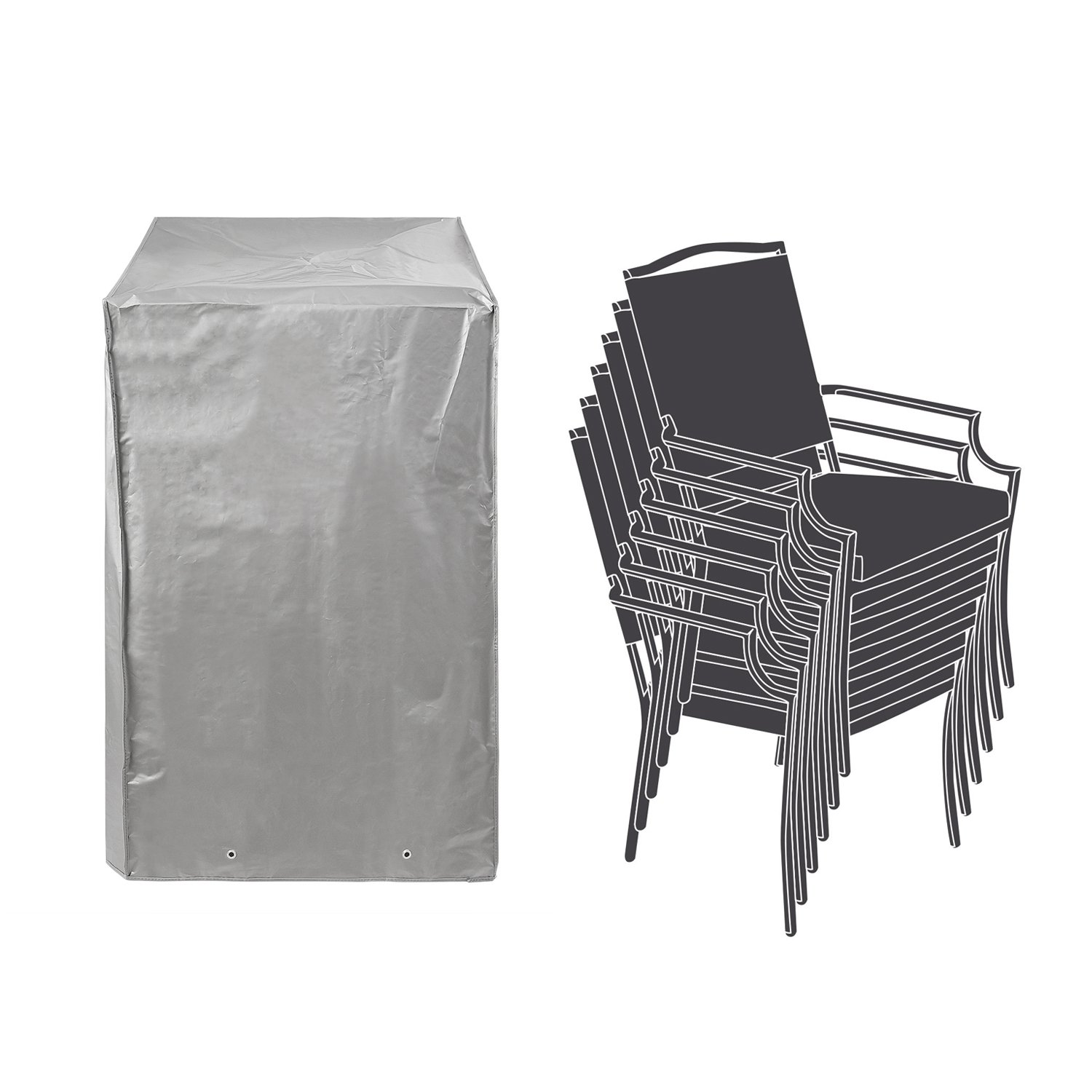 Patio Stackable Chairs Cover Patio Chair Covers Waterproof Durable Grey 26'' L x 34'' D x 46'' H