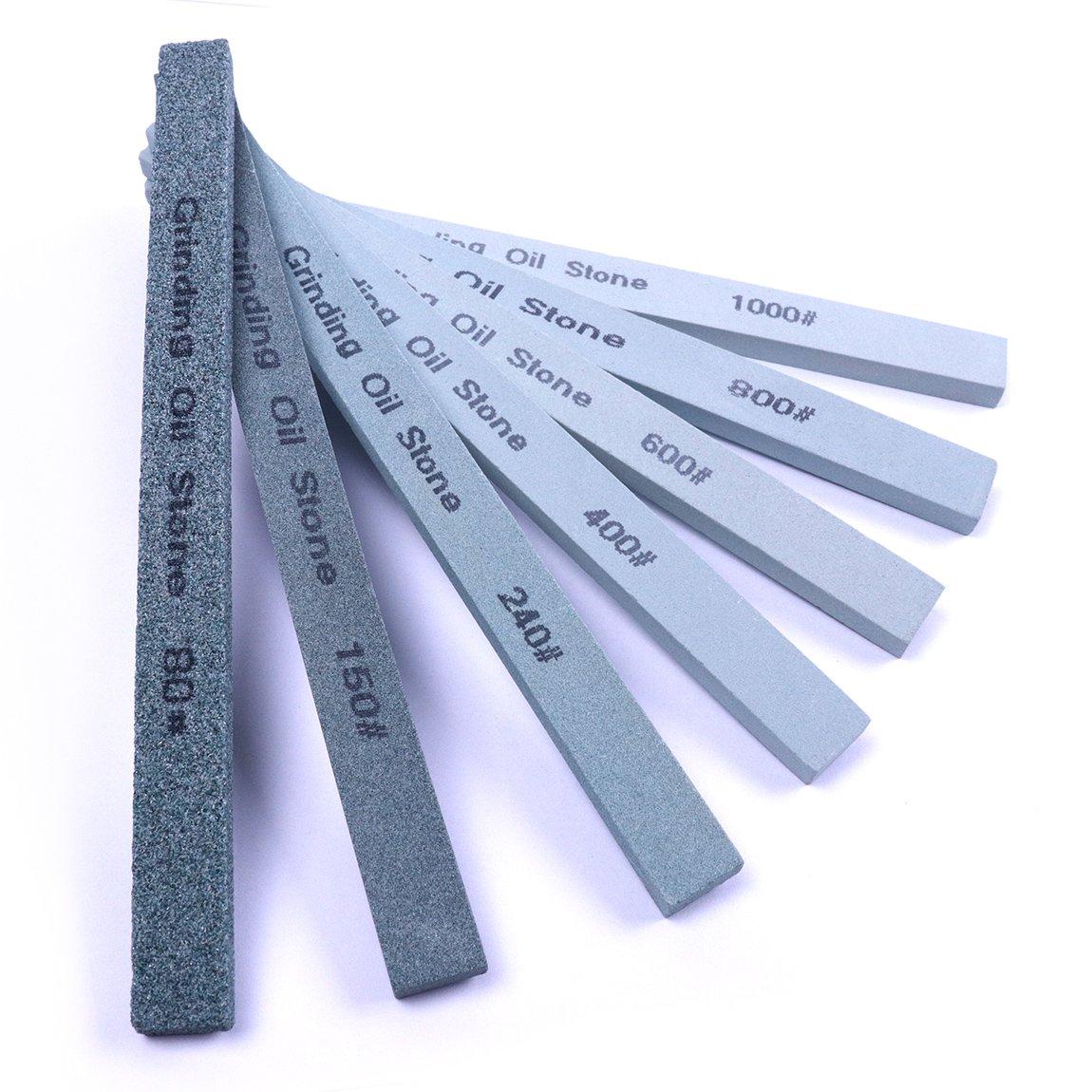Alle Grits, 7pcs 240# ATOPLEE Gr/ün Silikon-Carbon-Polier Oilstone f/ür Keramik gemaltes Metall Schleifkorn 80# 600# 400# 150# 1000# 800#