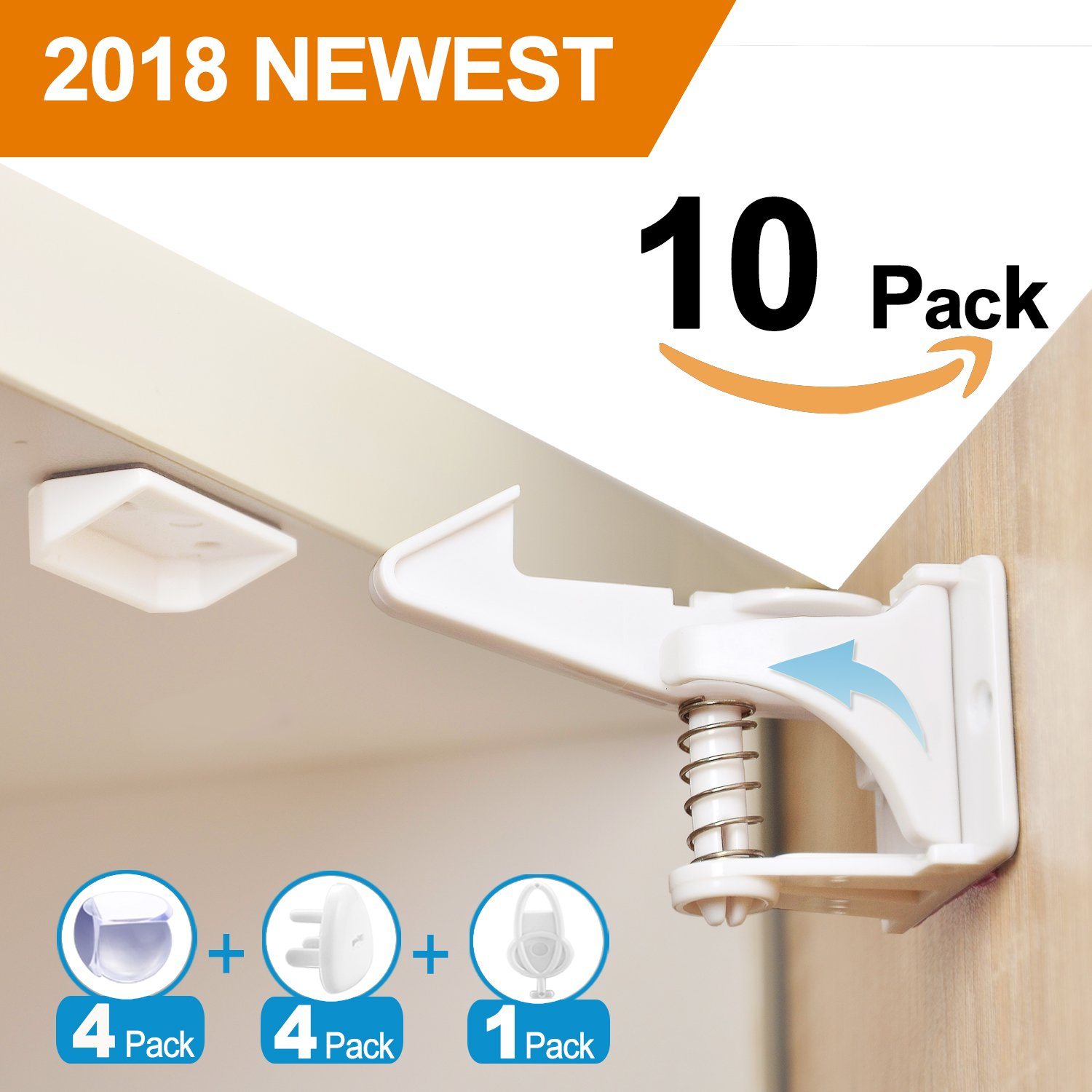 10 Pack Cabinet Locks Child Safety Baby Proofing Cabinet and Drawers Latches, UPGRADED 3M Adhesives No Drilling No Screws Installation, Invisible Design White MATT MURS
