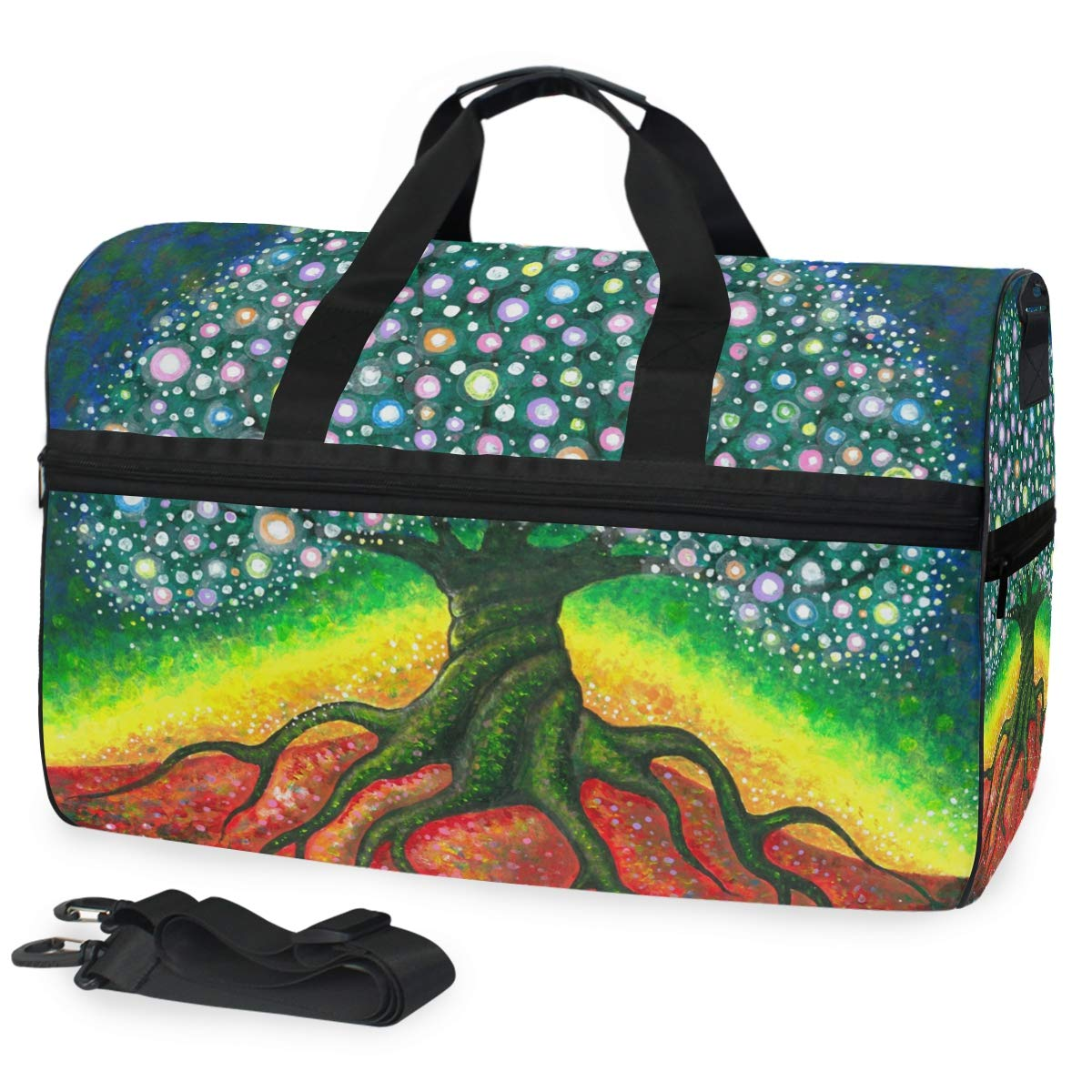 Tree Of Life Sketch Large Canvas shoulder bag with Shoe Compartment Travel Tote Luggage Weekender Duffle Bag